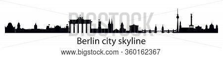 Horizontal Berlin Skyline Silhouette Illustration With Architectural Landmarks. Panoramic Illustrati