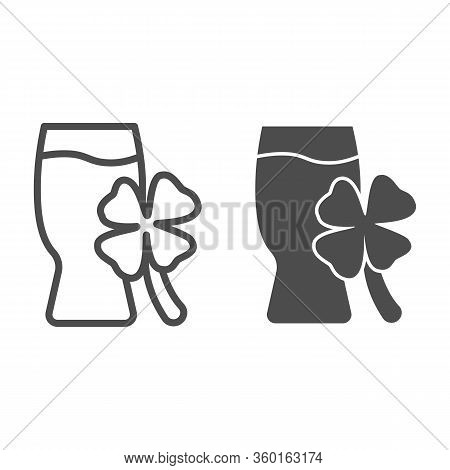 Beer Glass And Clover Line And Solid Icon. Pub Drink Mug With Clover Outline Style Pictogram On Whit