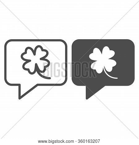 Clover Leaf In Chat Bubble Line And Solid Icon. Shamrock Sticker In Dialog Outline Style Pictogram O