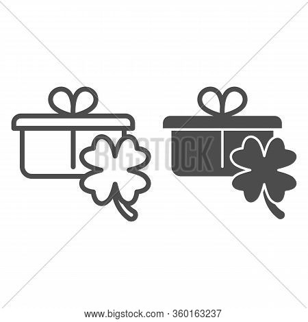 Gift With Clover Line And Solid Icon. Present Box With Shamrock Fortune Leaf Outline Style Pictogram
