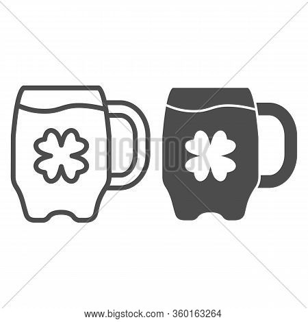 Beer Mug And Clover Line And Solid Icon. Irish Pub Alcohol Drink In Glass Outline Style Pictogram On