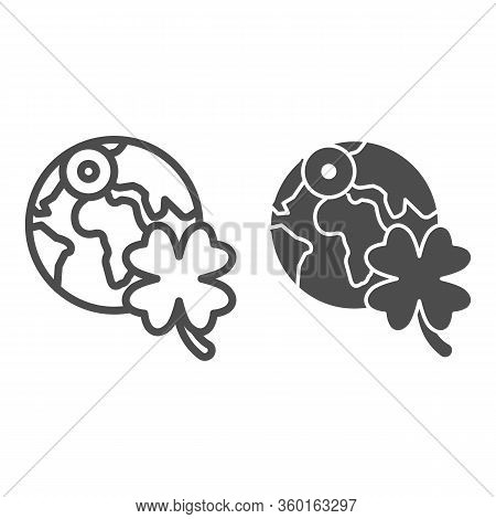 Planet With Clover Line And Solid Icon. Globe Earth With Shamrock Outline Style Pictogram On White B
