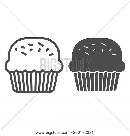Powder Cupcake Line And Solid Icon. Muffin For St Patrick Day Celebration Outline Style Pictogram On