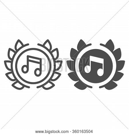 Music Festival Emblem Line And Solid Icon. Musical Note Symbol In Wreath Outline Style Pictogram On