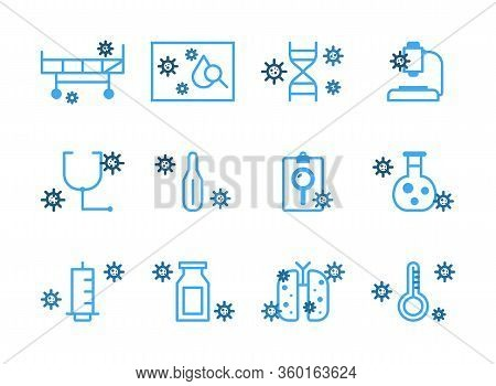 Virus And Disease Line Icons.set Of Coronavirus Icons, Virus, Ncov-2019, Disease, Sickness, Illness.