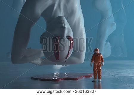 researcher on a human clone factory, 3d illustration