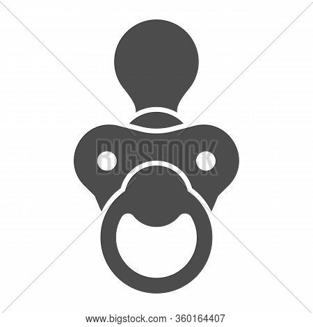 Baby Nipple Solid Icon. Child Silicone Dummy Glyph Style Pictogram On White Background. Babys Dummy