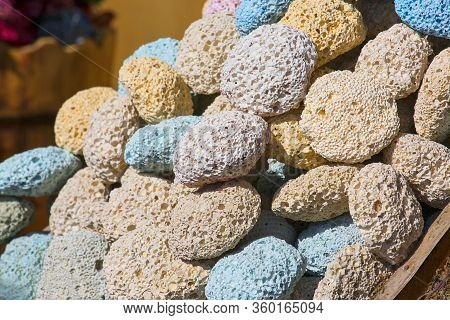 Colored Natural Pumice Stones At The Stand On Street Bazaar In Egypt