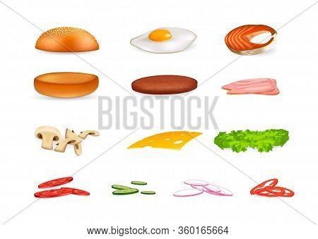 Set Of Ingredients For Burger And Sandwich. Sliced Veggies, Bun, Cutlet, Cheese, Mushrooms, Peppers,