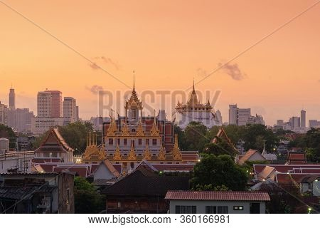 Loha Prasat Wat Ratchanatda And Golden Mountain Pagoda, A Buddhist Temple Or Wat Saket With Skyscrap