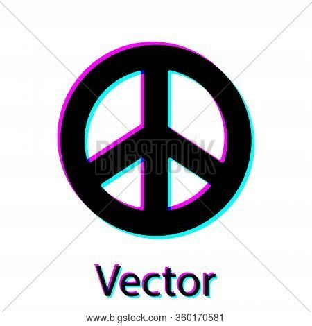 Black Peace Icon Isolated On White Background. Hippie Symbol Of Peace. Vector Illustration
