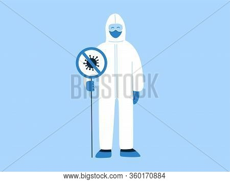 Vector Illustration In Flat Style With Empty Place For Text. Stop Coronavirus Covid-19 Concept. Proh