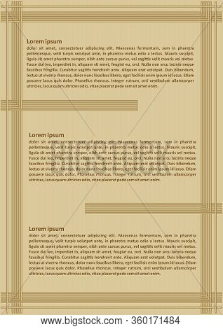 Luxurious Golden Leaflet Template With Three Sections For Text, Sample Text, Embossed Simply Line De
