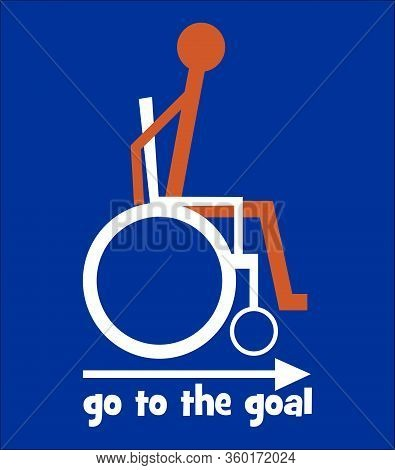 Wheelchair Symbol, Orange Figure In White Wheelchair On Dark Blue Background, Go To The Goal - Motiv