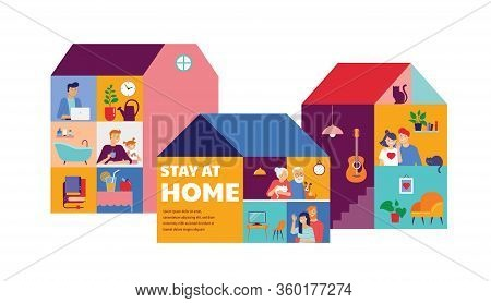 Stay At Home, Concept Design. House Facade With Different Types Of People Looking Out And Communicat
