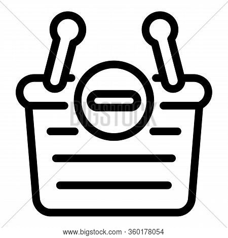 Restriction Shop Basket Icon. Outline Restriction Shop Basket Vector Icon For Web Design Isolated On