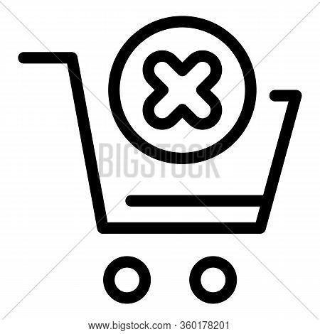Shop Cart Denied Icon. Outline Shop Cart Denied Vector Icon For Web Design Isolated On White Backgro