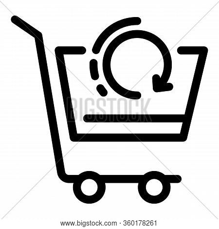 Refresh Shop Cart Icon. Outline Refresh Shop Cart Vector Icon For Web Design Isolated On White Backg