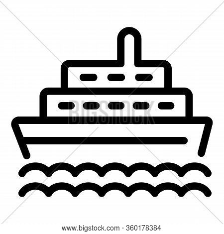 Cruise Ship Icon. Outline Cruise Ship Vector Icon For Web Design Isolated On White Background