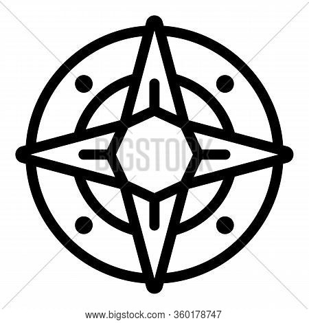 Nautical Compass Icon. Outline Nautical Compass Vector Icon For Web Design Isolated On White Backgro