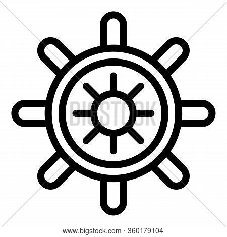 Ship Steering Wheel Icon. Outline Ship Steering Wheel Vector Icon For Web Design Isolated On White B
