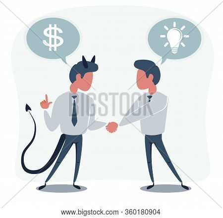 The Deal. Two Business Mans Shaking Hands. Vector Flat Design Illustration.