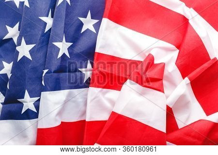 Usa Flag Background. American National Flag As Symbol Of Democracy, Patriot, Us Memorial Day Or 4th