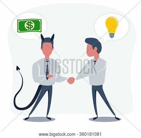 Contract With A Fraudster. Vector Flat Design Illustration.