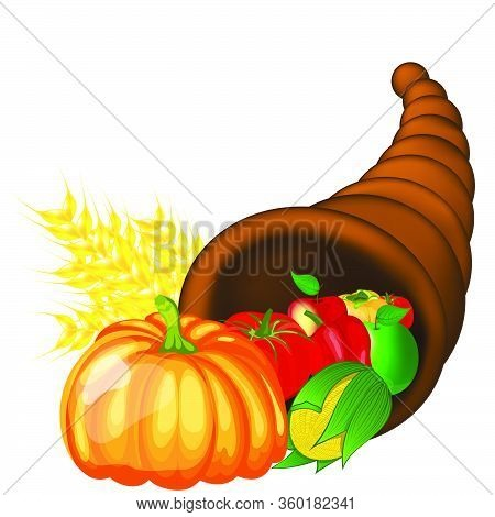 Thanksgiving Day Greeting Card. Design Consist From Cornucopia Pumpkin, Pepper, Tomato, Apple, Ears