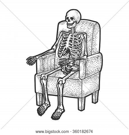 Human Skeleton Is Sitting In Armchair Sketch Engraving Vector Illustration. T-shirt Apparel Print De