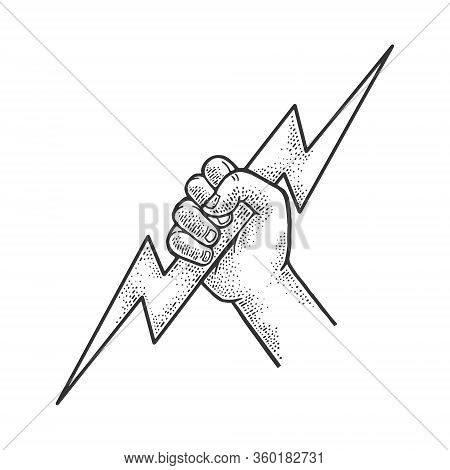Hand Of God Zeus With Lightning Sketch Engraving Vector Illustration. T-shirt Apparel Print Design.