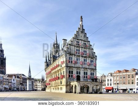 Gouda Stadhuis Or Town Hall Heritage Building On Grote Markt, The Netherlands