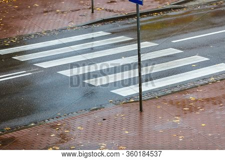 Empty Road With Zebra Crossing, Autumnal Rainy Weather