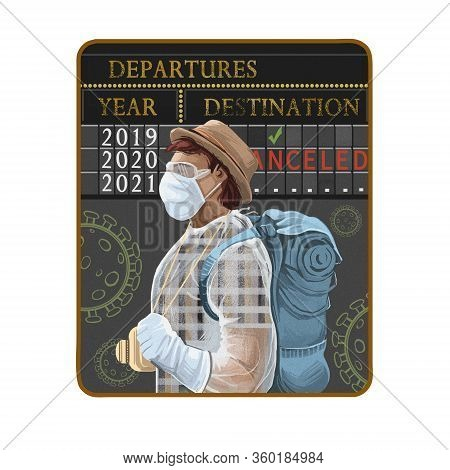 Coronavirus Travel Cancels, Vacations And Flights Cancelation Caused By Covid-19. Digital Art Illust