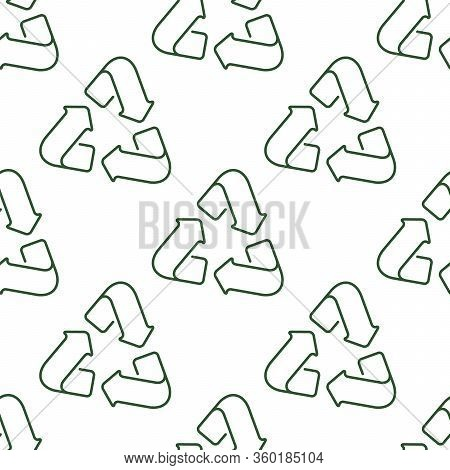 Seamless Pattern With The Image Of A Recycling Symbol In Outline Style.