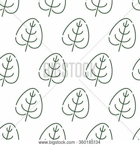 Seamless Pattern With The Image Of Leaves In Outline Style. Simple Pattern On A White Background.