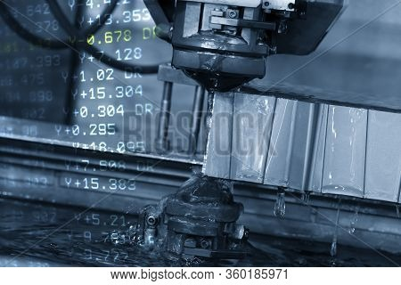 The  Abstract Scene Of Wire Edm Machine Cutting The Die Parts And Nc Data Background. The Mold And D