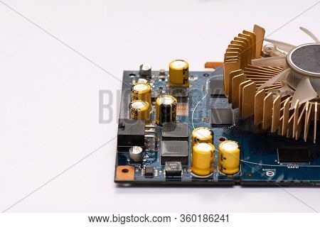 Electronic Circuit And Cooling Fin At Computer Video Card. Equipment For The Work Of An Engineer.