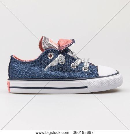 Vienna, Austria - August 14, 2017: Converse Chuck Taylor All Star Double Tongue Ox Navy Blue Sneaker