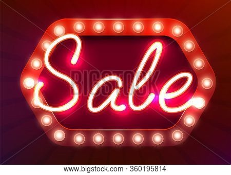 Neon Sign, The Word Sex On Dark Background. Night Life Background For Your Design, Greeting Card, Ba