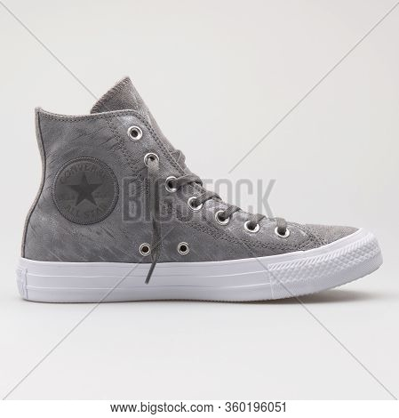 Vienna, Austria - August 14, 2017: Converse Chuck Taylor All Star High Grey And White Sneaker On Whi