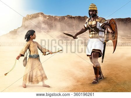 The Isrealite David Attacks The Giant Philistine Goliath With A Sling In The Valley Of Elah, Israel,