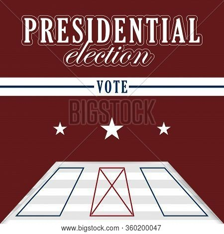 Electoral Card In A Presidential Election Poster - Vector Illustration