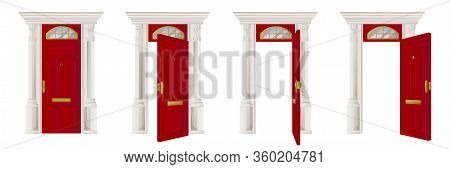 Closed And Open Classical Wooden Red Door Set, Isolated On White Background. Home Entrance And Exit,