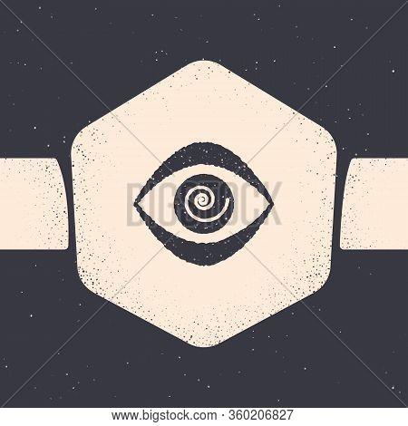Grunge Hypnosis Icon Isolated On Grey Background. Human Eye With Spiral Hypnotic Iris. Monochrome Vi