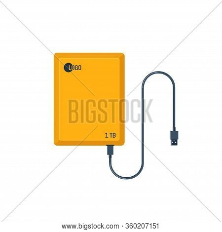 Portable Hdd. External Hard Disk Drive With Usb Cable. Memory Drive Illustration