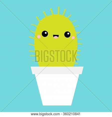 Cactus Icon In Flower Pot. Cute Cartoon Kawaii Smiling Baby Character. Desert Prikly Thorny Spiny Pl