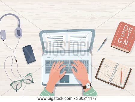Elearning Study, Work At Home Concept Design. Laptop With Human Hands On It, Notebook, Pen, Pencil,