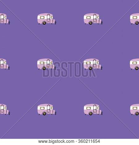 Seamless Repeat Retro Camper Van. Vintage Campervan Rv Seamless Pattern With Purple Background