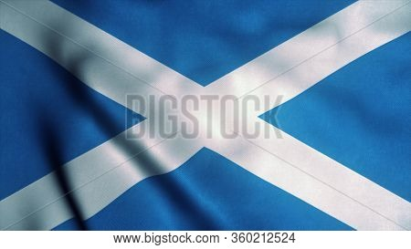 Scotland Flag Waving In The Wind. National Flag Of Scotland. Sign Of Scotland. 3d Rendering.
